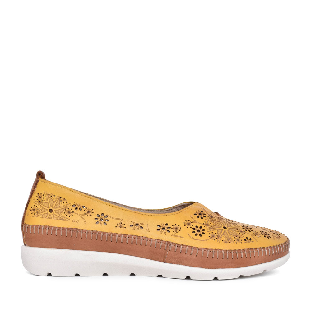 LADIES D1931 PERFORATED SLIP ON SHOE in YELLOW