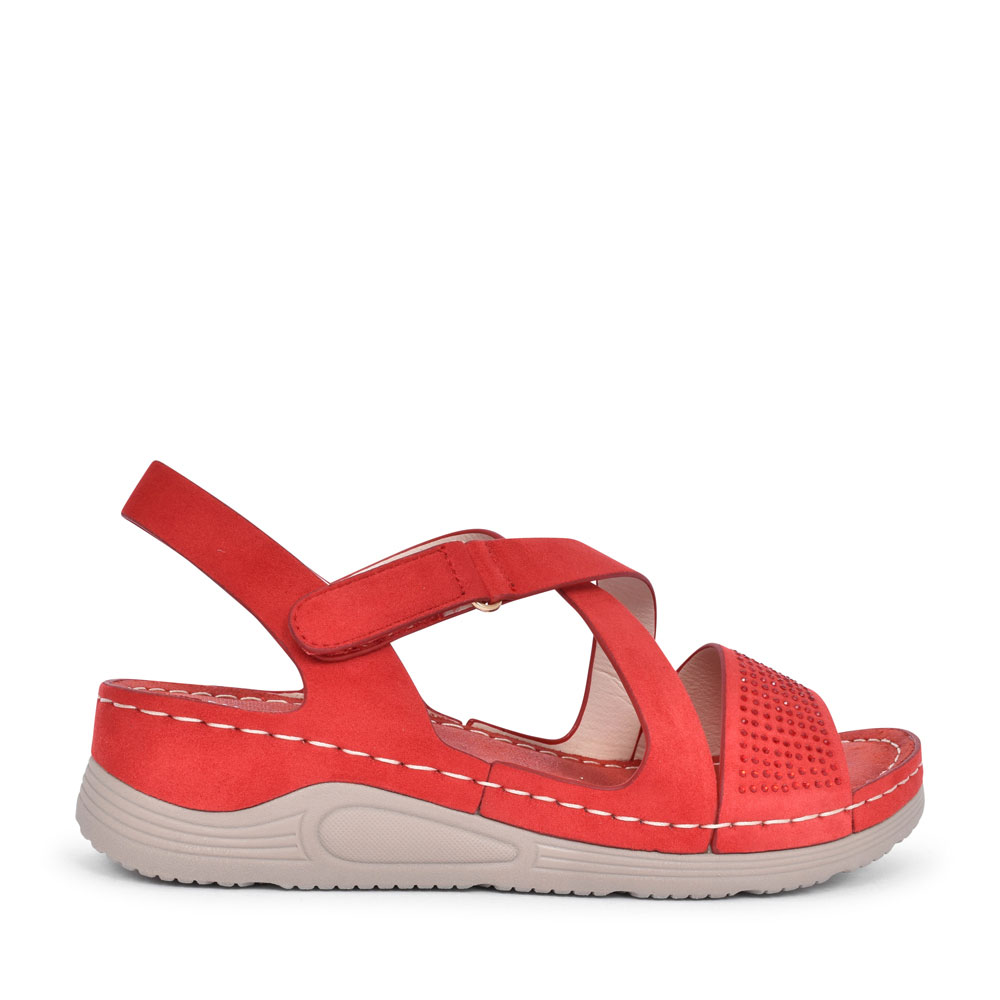 LADIES 8046-B15 CASUAL CROSSOVER SANDAL  in RED