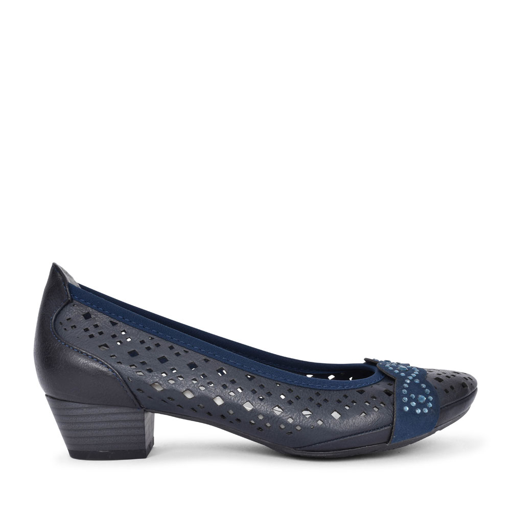 LADIES 2-22505 LOW HEEL LASER CUT COURT SHOE in NAVY