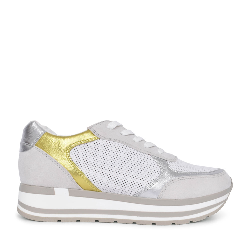 LADIES 2-23700 CASUAL LACED TRAINER in WHITE