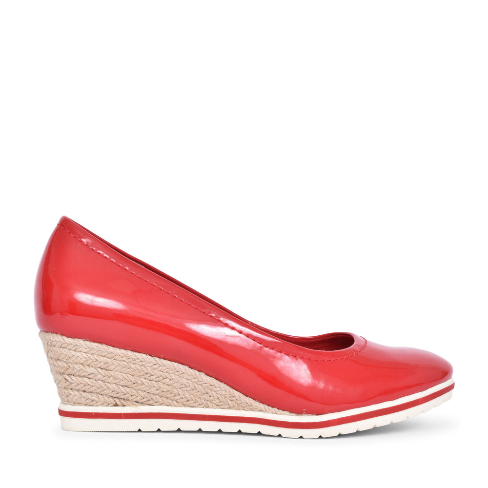 1-22441 PATENT WEDGE SLIP ON SHOE FOR LADIES in RED