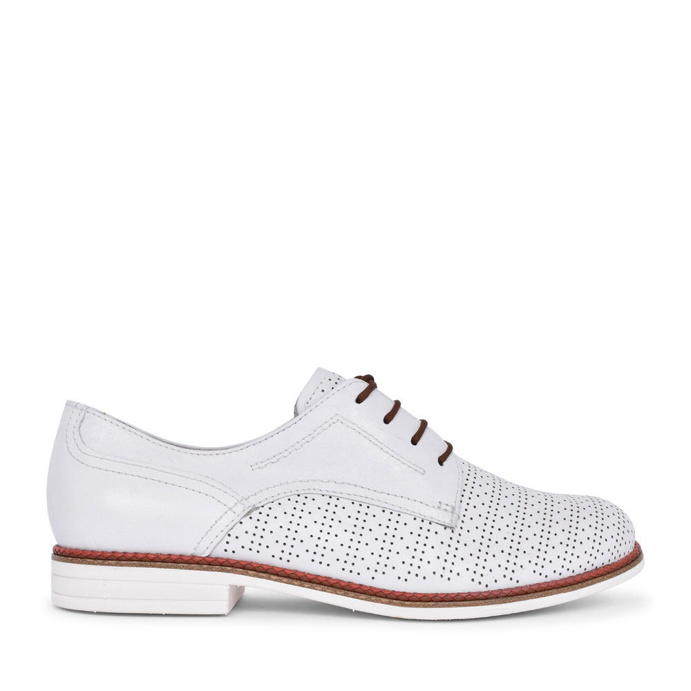 1-23200 PERFORATED LACED SHOE FOR LADIES in WHITE
