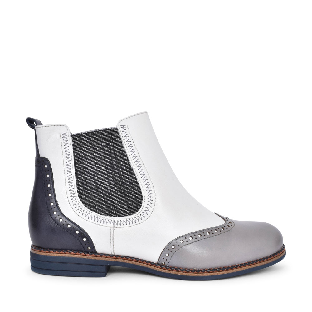 1-25310 BROGUE STYLE CHELSEA ANKLE BOOT FOR LADIES in WHITE
