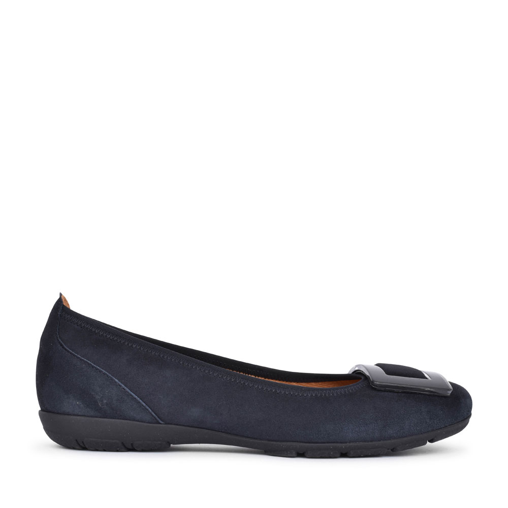 LADIES RIBAND 44.164 BALLET PUMP WITH BUCKLE TRIM in NAVY