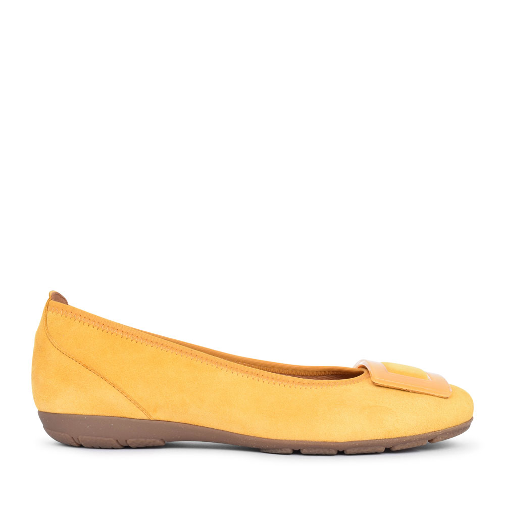 LADIES RIBAND 44.164 BALLET PUMP WITH BUCKLE TRIM in YELLOW