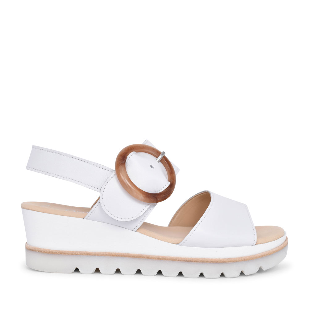 LADIES YEO 44.645 OVER SIZED BUCKLE WEDGE SANDAL in WHITE