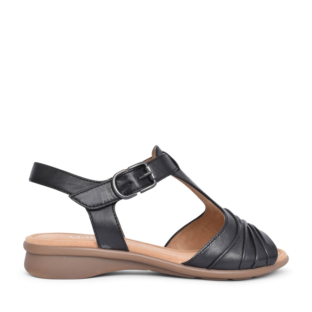 LADIES MOONDUST 46.065 RUCHED T-BAR SANDAL in BLACK