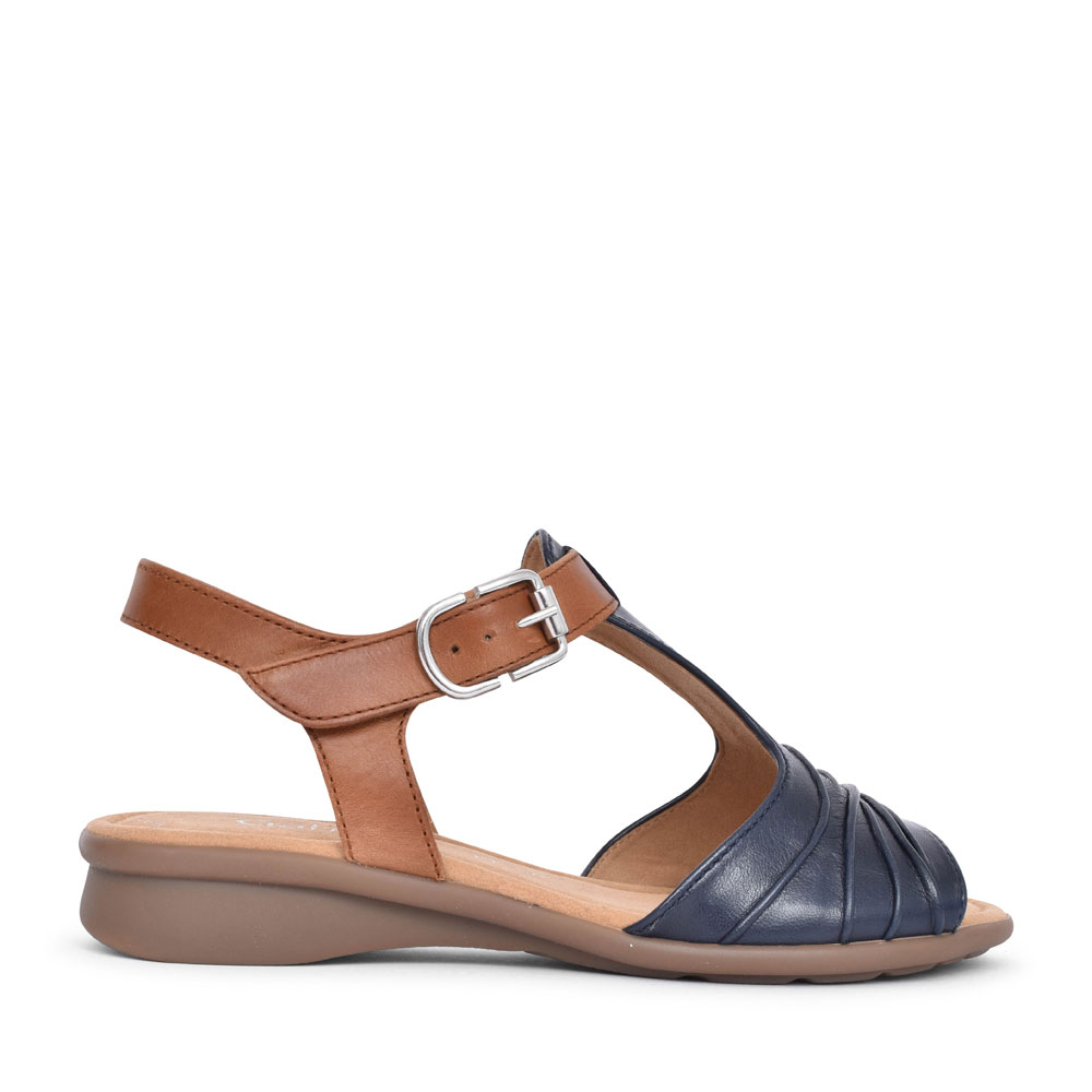 LADIES MOONDUST 46.065 RUCHED T-BAR SANDAL in NAVY