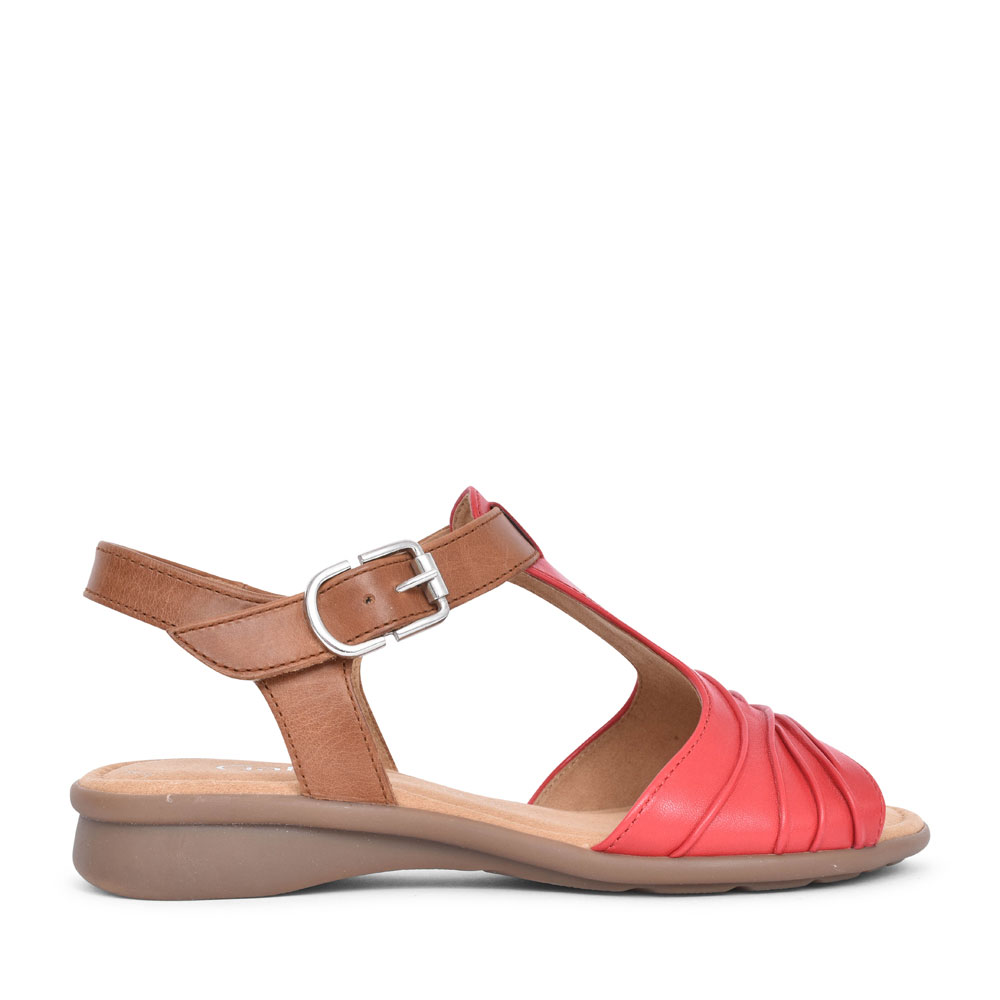 LADIES MOONDUST 46.065 RUCHED T-BAR SANDAL in RED
