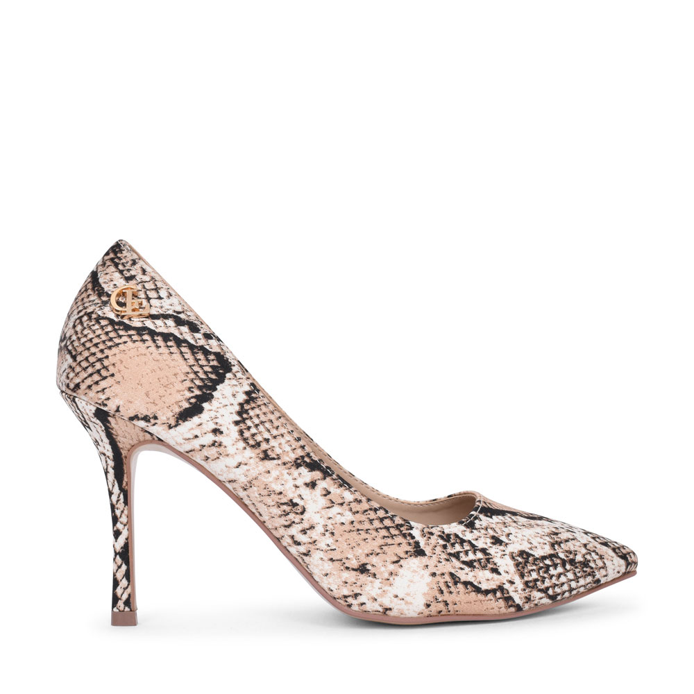 LADIES CLARA HIGH HEEL ANIMAL PRINT COURT SHOE in SNAKE