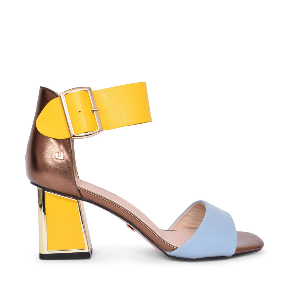 LADIES CIRCLE SONG MEDIUM HEEL ANKLE STRAP SANDAL in YELLOW