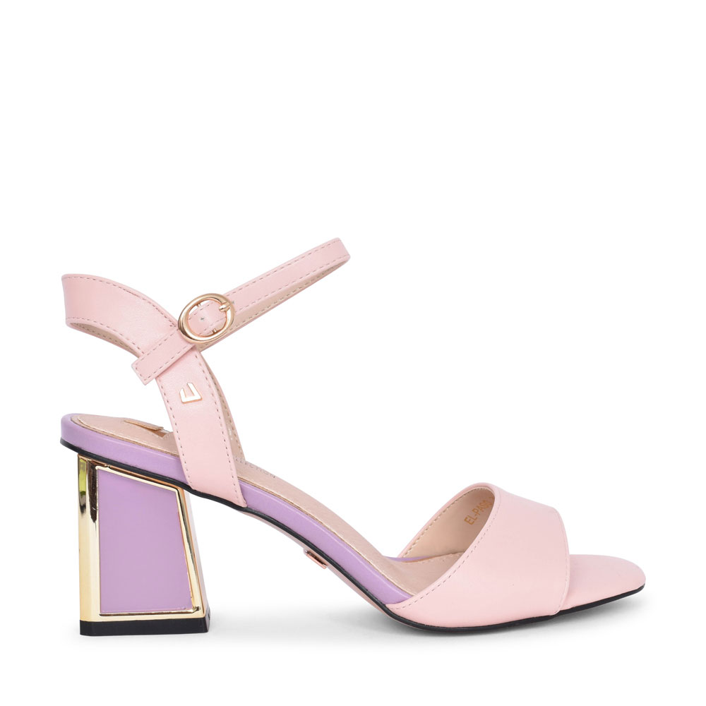 LADIES EL PASO MEDIUM HEEL ANKLE STRAP SANDAL in PINK