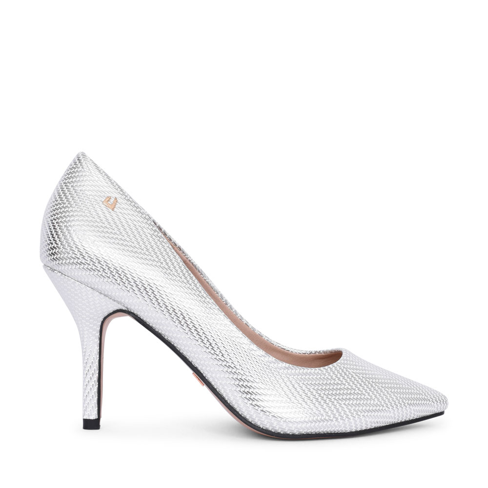 LADIES TWO ANGELS HIGH HEEL POINTED TOE COURT SHOE in SILVER