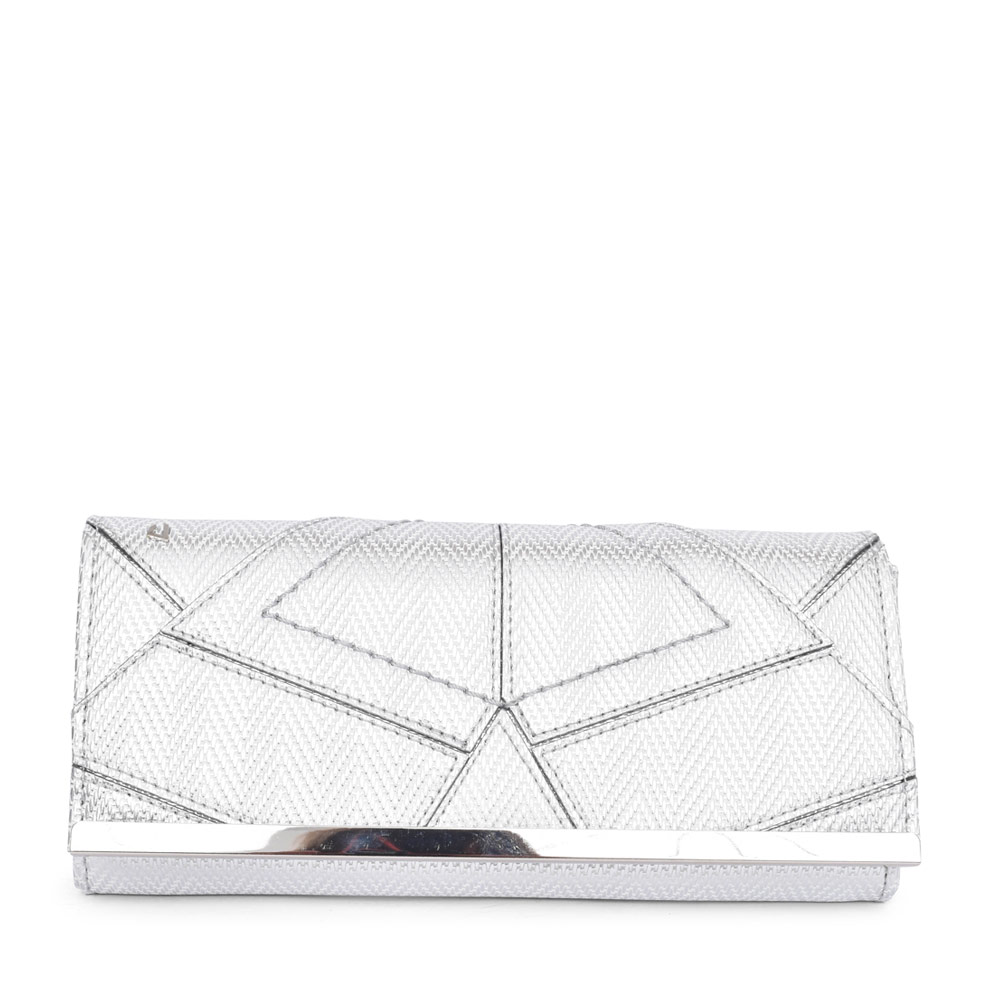 LADIES TWO ANGELS CLUTCH BAG in SILVER