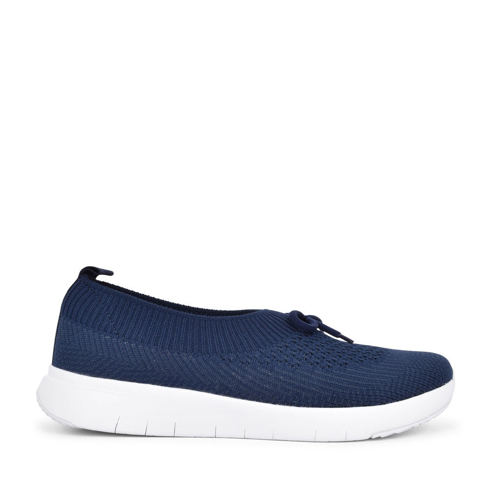 LADIES AU1-442 MARBLE KNIT LACED TRAINER in NAVY