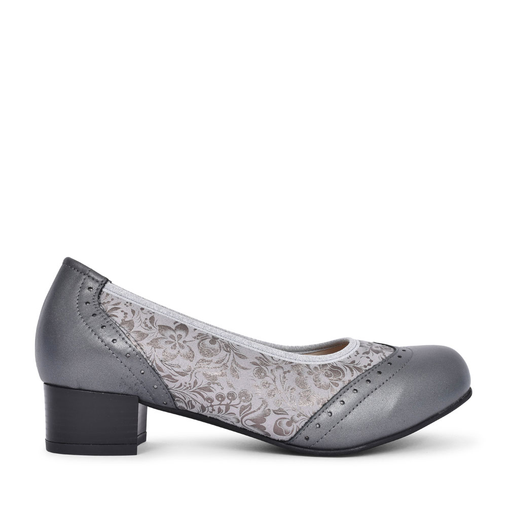 LADIES 2V BADMINTON LOW HEEL COURT SHOE in PEWTER