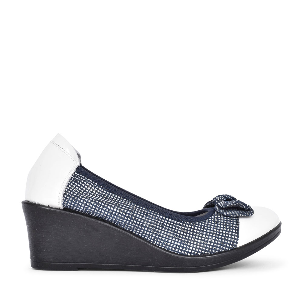 LADIES GALAGO BOW FRONT SLIP ON WEDGE SHOE in NAVY
