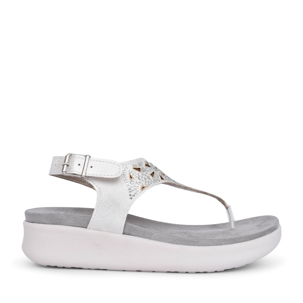 LADIES DV000011 DIAMANTE TOE POST SANDAL in SILVER