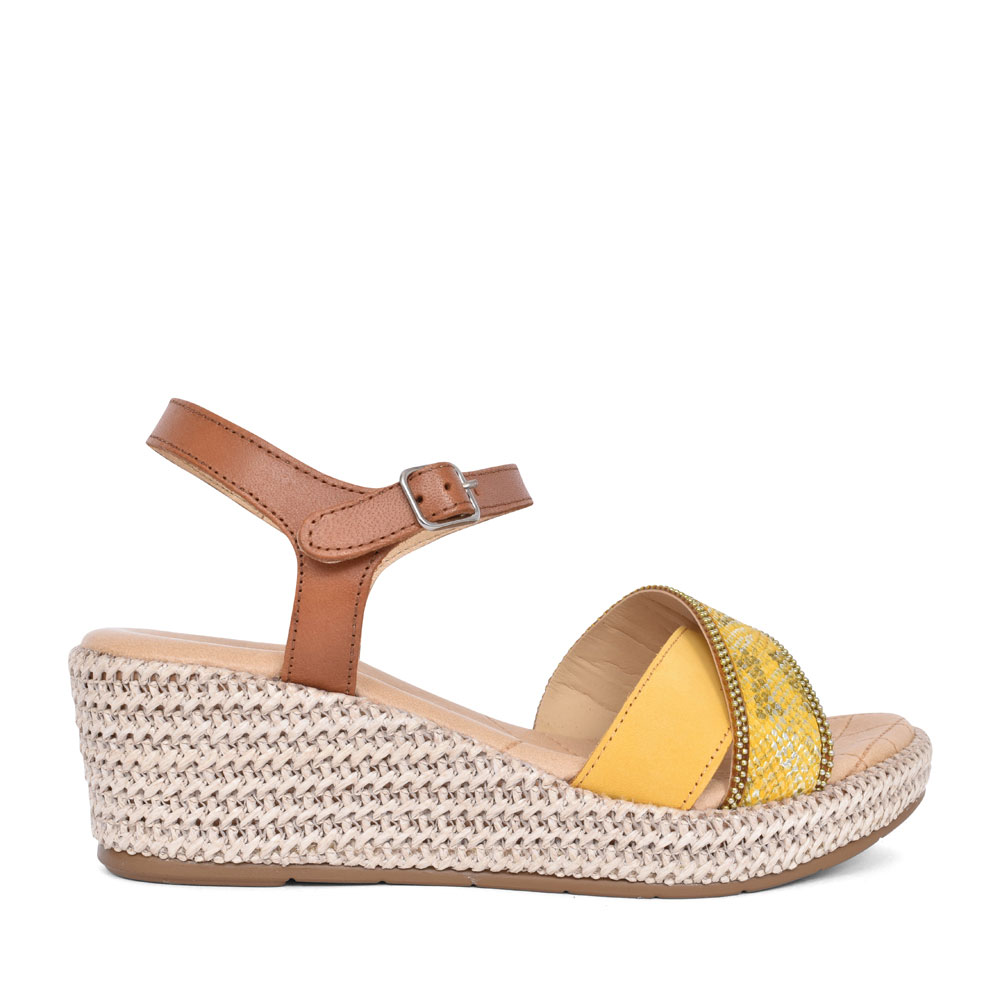 LADIES 6190 CROSSOVER ANKLE STRAP WEDGE SANDAL in YELLOW