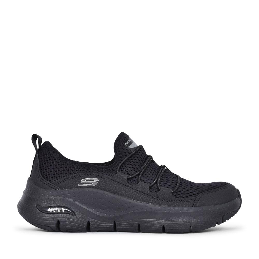 LADIES 149056 ARCH FIT ELASTICATED SLIP ON SHOE in BLACK