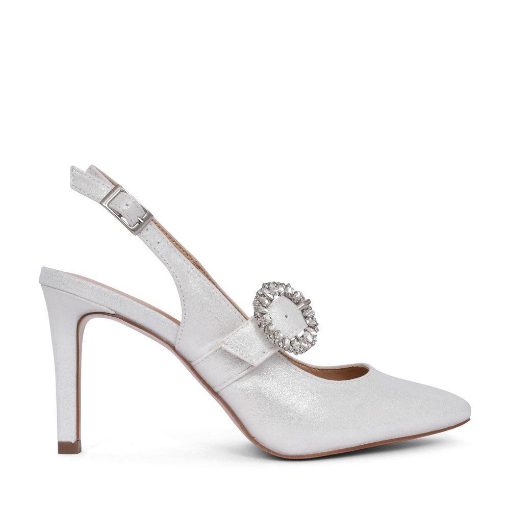 LADIES ULS177 HIGH HEEL SLINGBACK COURT SHOE in WHITE