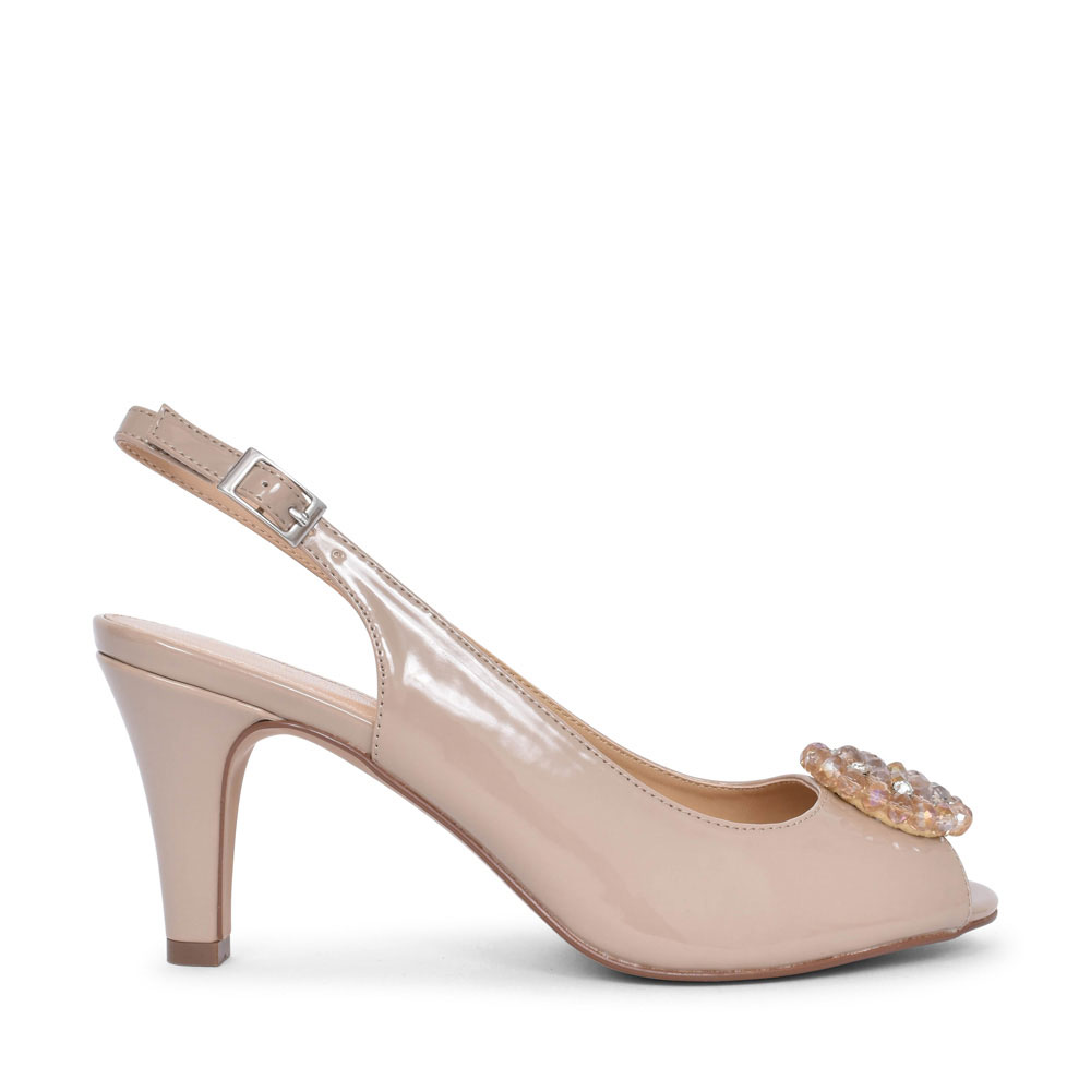 LADIES ELODIE ULS042 MEDIUM HEEL SLING BACK COURT SHOE in NUDE