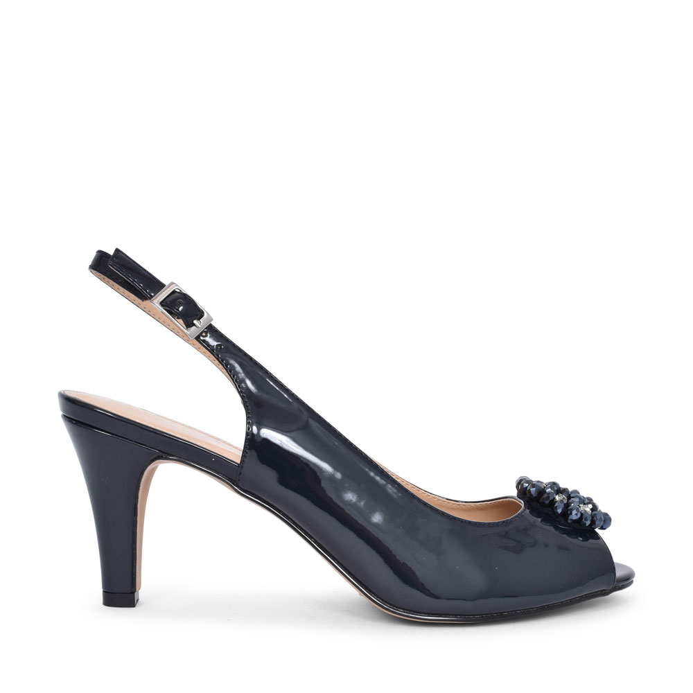 LADIES ULS042 MEDIUM HEEL SLING BACK COURT SHOE in NAVY PATENT