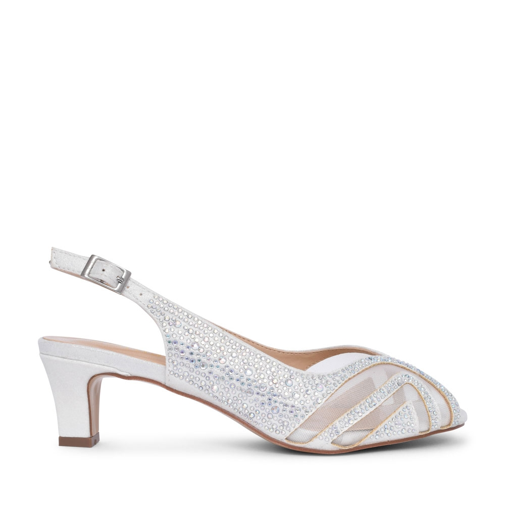 LADIES ULS178 LOW HEEL EMBELLISHED SLINGBACK COURT SHOE in WHITE