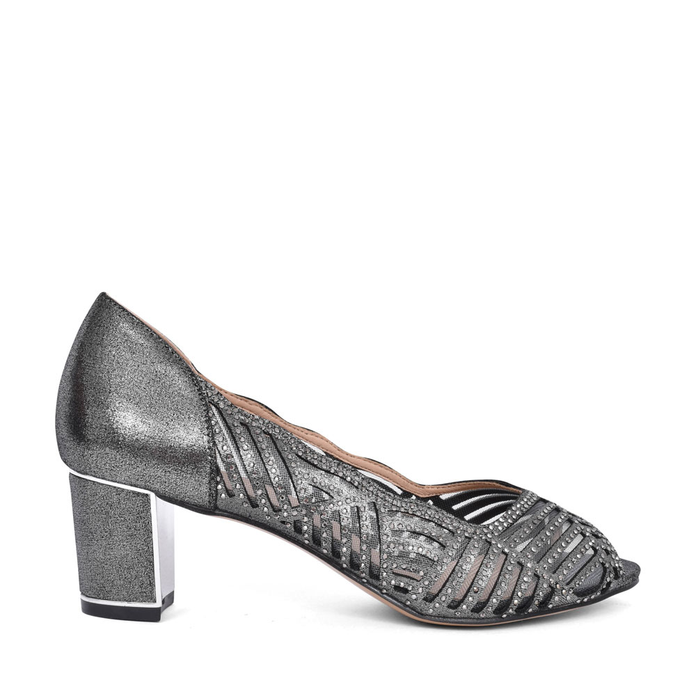 LADIES ULS165 LOW HEEL DIAMANTE PEEP TOE COURT SHOE in PEWTER