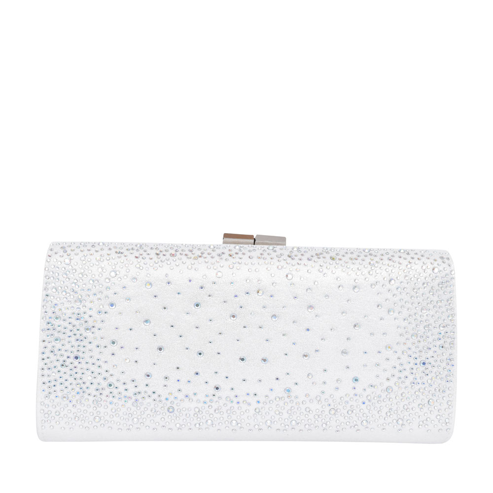 LADIES CHANDRA ULG014 EMBELLISHED CLUTCH BAG in WHITE