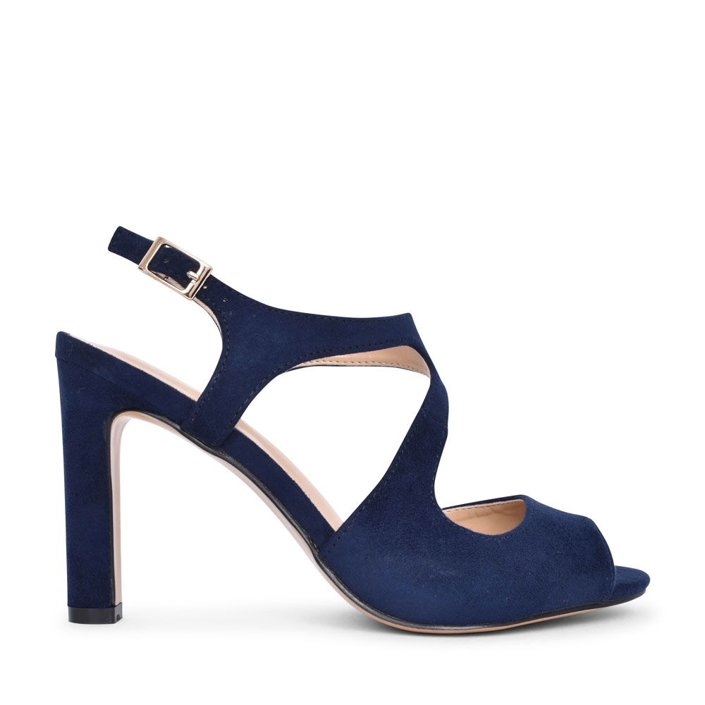 LADIES ULS160 HIGH HEEL PEEP TOE COURT SHOE in NAVY