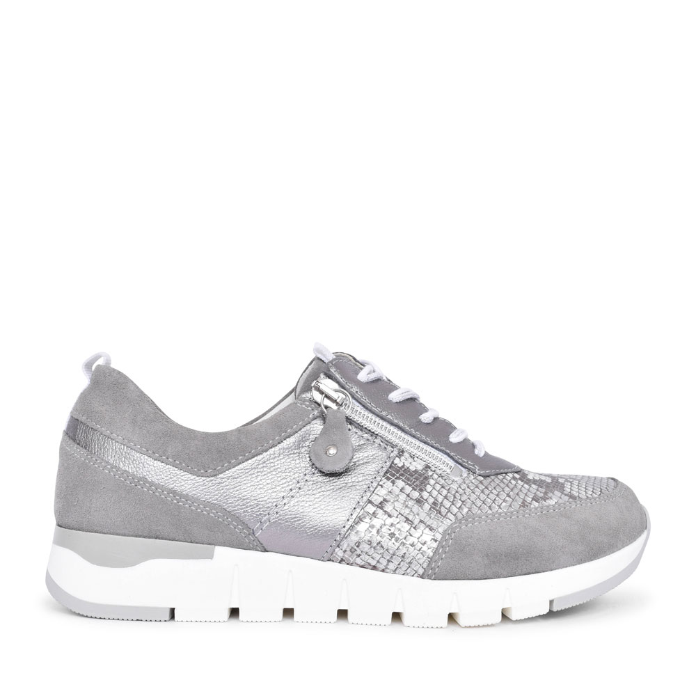 LADIES 908009 H-PETRA LACED TRAINER in GREY