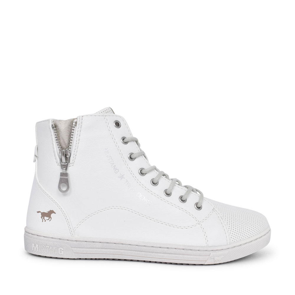 LADIES 1349501 CASUAL LACED HI-TOP BOOT in WHITE