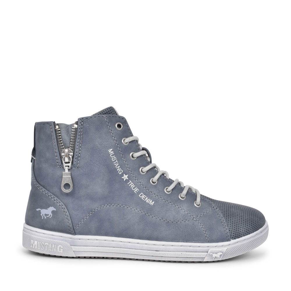 LADIES 1349501 CASUAL LACED HI-TOP BOOT in BLUE