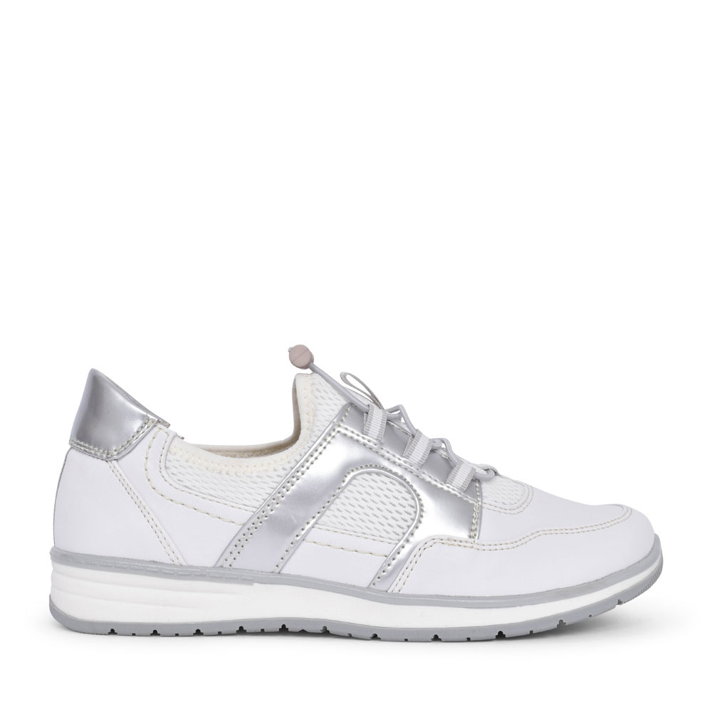 SOFTLINE 8-23661 CASUAL ELASTICATED TRAINER FOR LADIES in WHITE