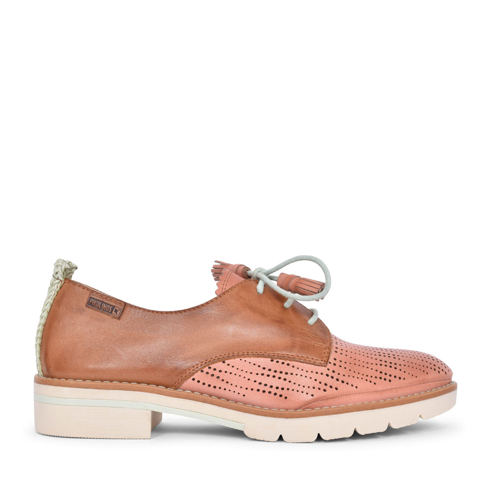 LADIES SITGES W7J-4846C1 PERFORATED LACED SHOE in PINK