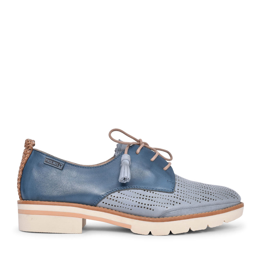 LADIES SITGES W7J-4846C1 PERFORATED LACED SHOE in BLUE