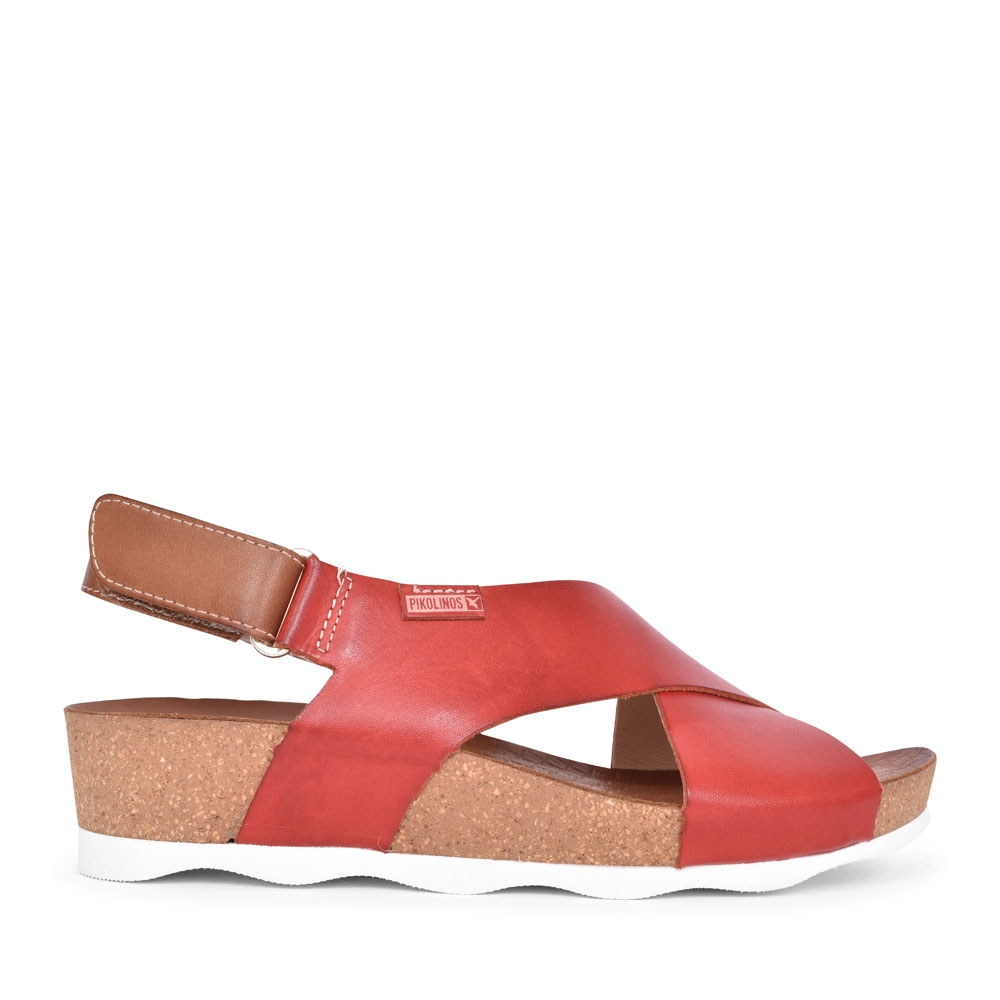 LADIES MAHON W9E-0912 CROSSOVER WEDGE SANDAL in RED
