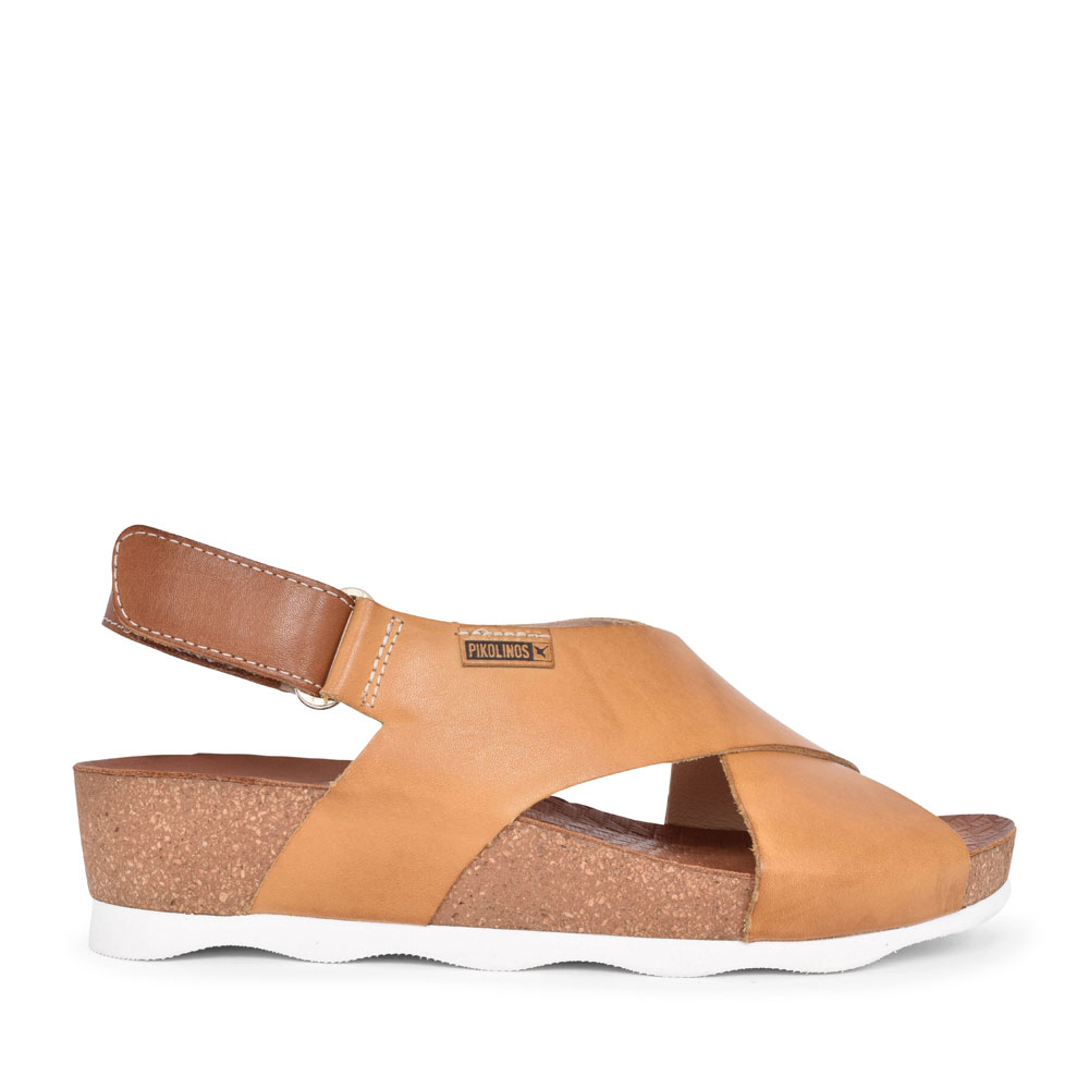 LADIES MAHON W9E-0912 CROSSOVER WEDGE SANDAL in MUSTARD