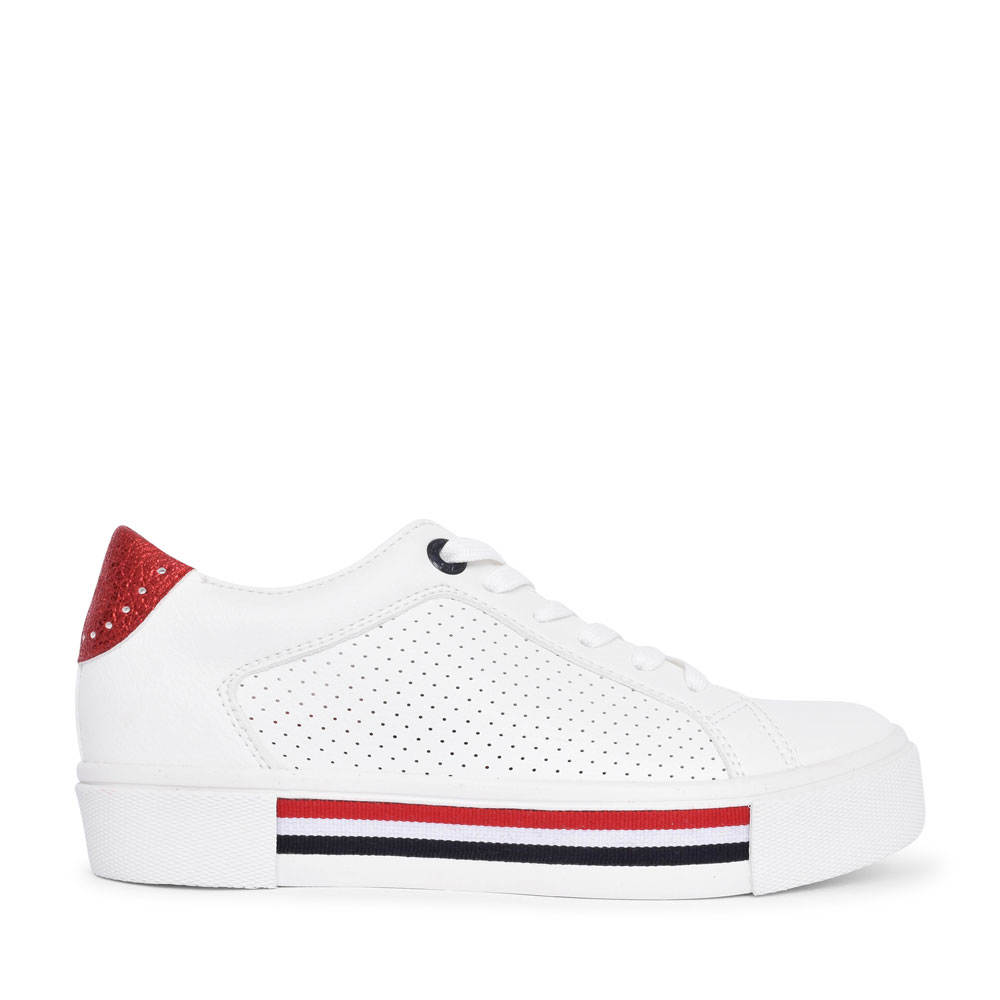 LADIES 5-23619 CASUAL LACED TRAINER in WHITE