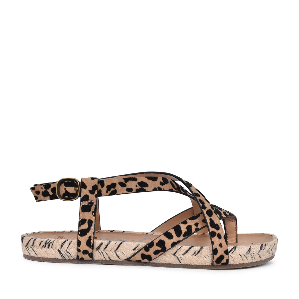 LADIES GRANOLA ROPE BF-5518A FLAT TOE POST SANDAL in LEOPARD