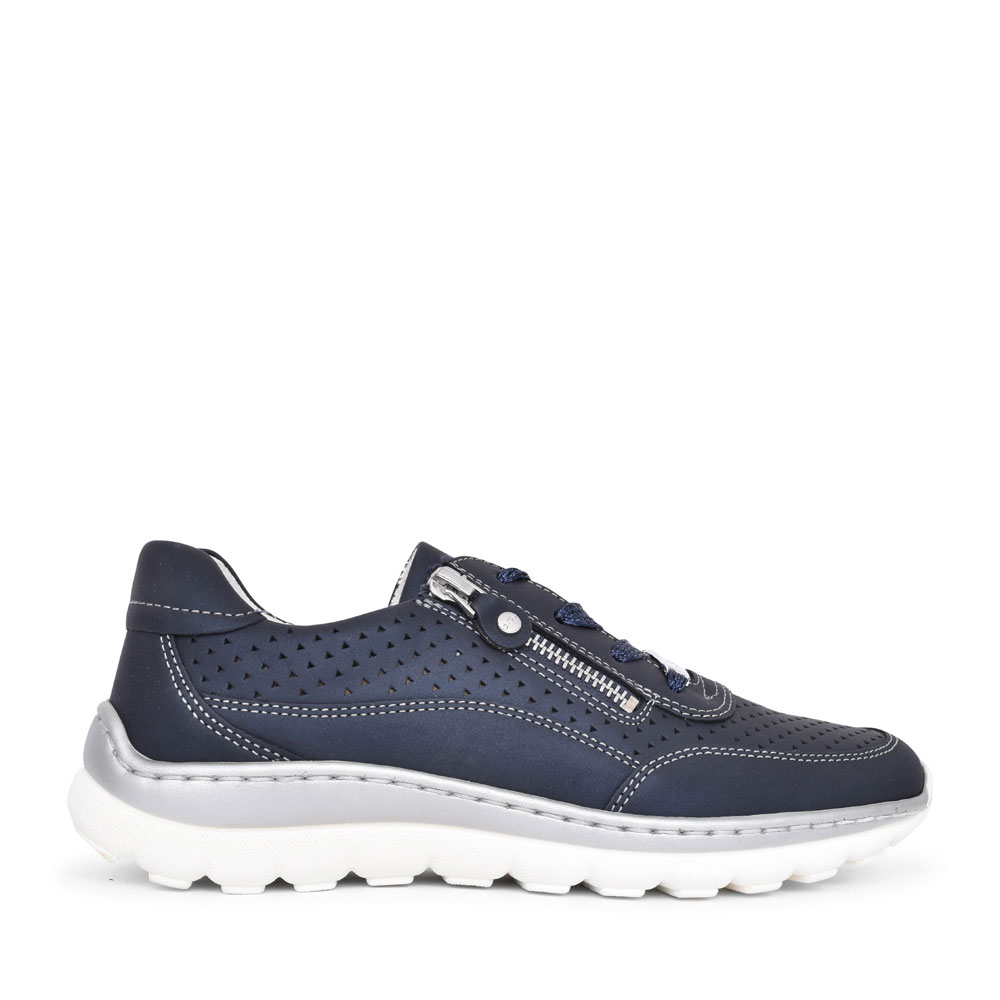 LADIES 12-18506 TAMPA PERFORATED LACED TRAINER in NAVY