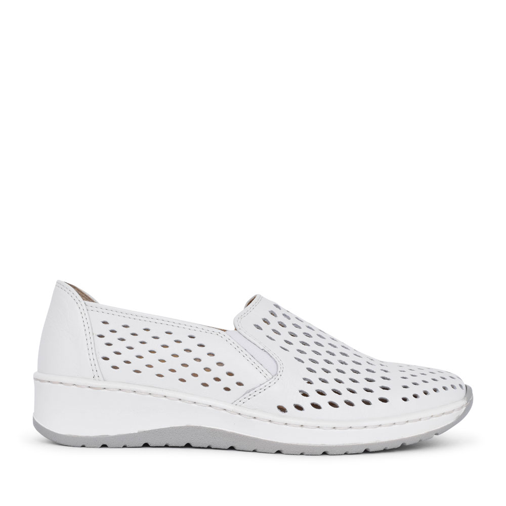 12-17698 OSSONA PERFORATED SLIP ON SHOE FOR LADIES in WHITE