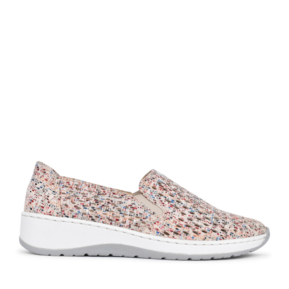 12-17698 OSSONA PERFORATED SLIP ON SHOE FOR LADIES in MULTI-COLOUR