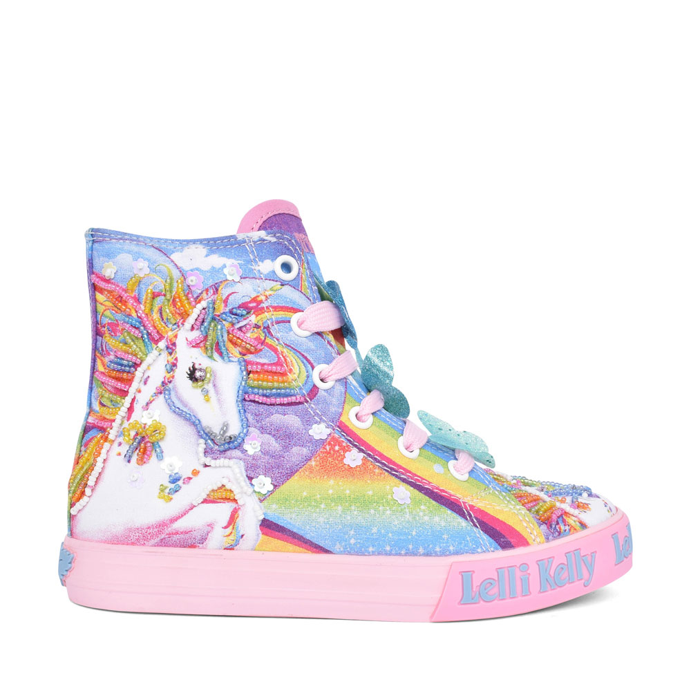 LK 9090 UNICORN MID LACED HI TOP FOR GIRLS in MULTI-COLOUR