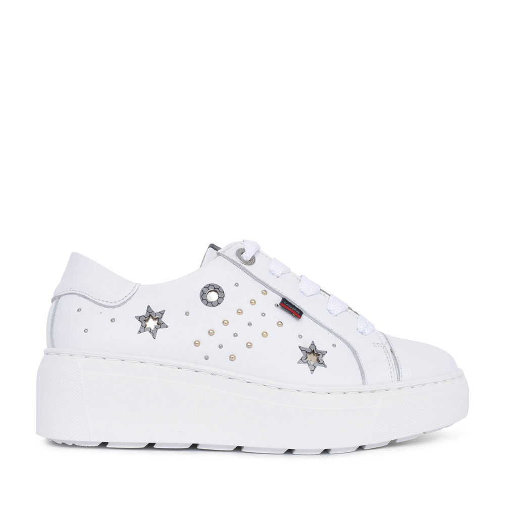 LADIES 14920 EMBELLISHED LACE WEDGE SHOE in WHITE