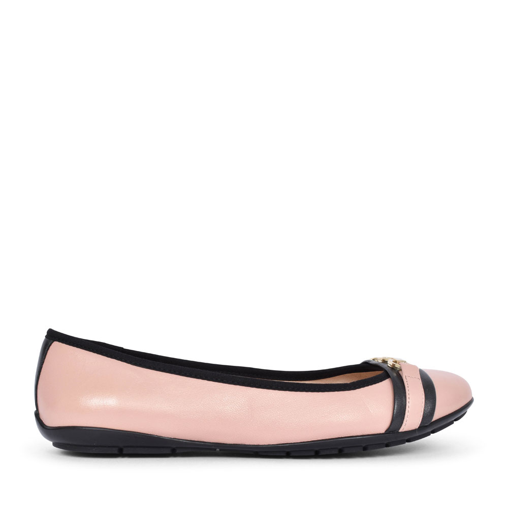9-22112 LEATHER BALLERINA PUMP FOR LADIES in ROSE