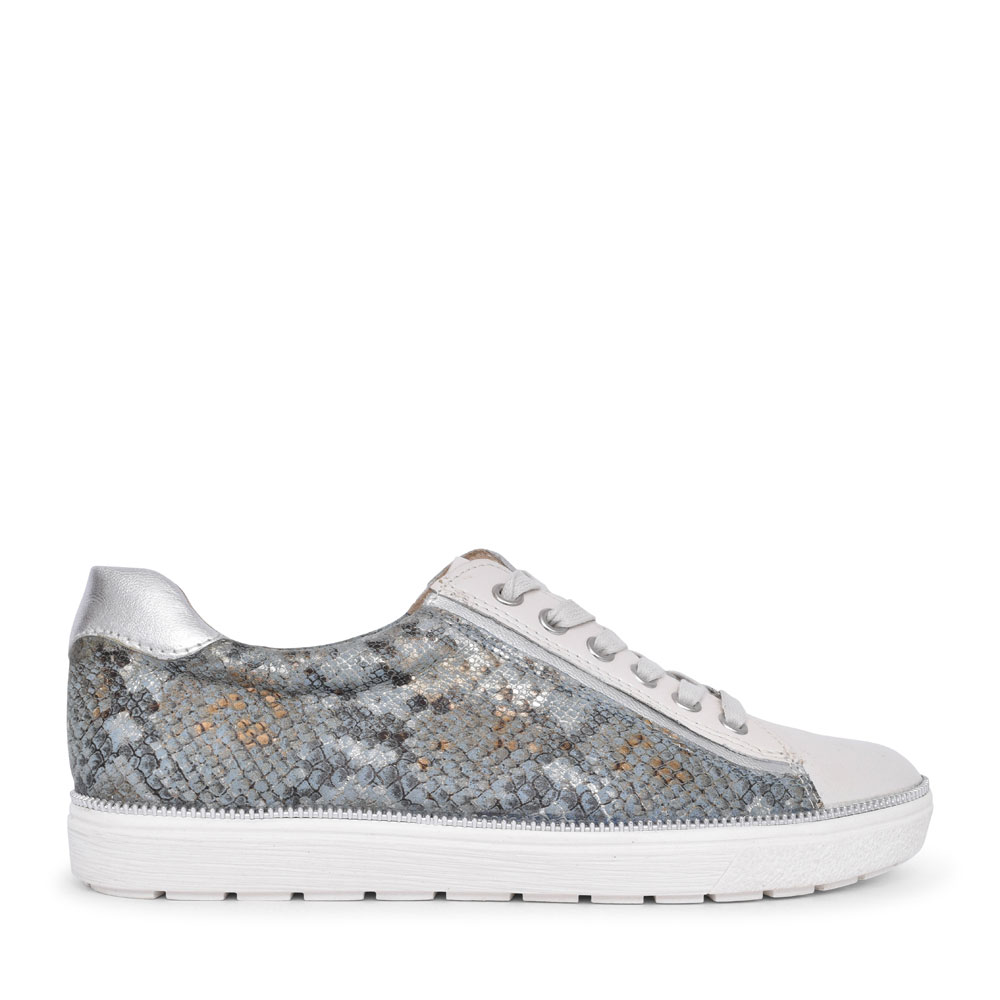 9-23650 LEATHER LACED TRAINER FOR LADIES in BLUE