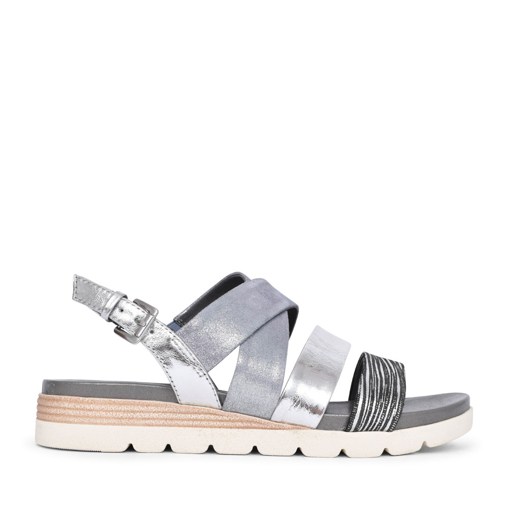 LADIES 9-28108 MULTI STRAP SANDAL  in SILVER