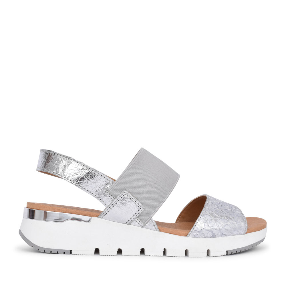 LADIES 9-28701 ELASTICATED STRAP WEDGE SANDAL in SILVER